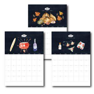 Suisse calendar, calendaire suisse, 2019
